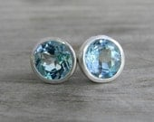 READY TO SHIP Sky Blue 9mm Stud Earrings in Argentium