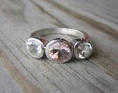 Morganite Gemstone Ring, Custom Made Recycled Silver Ring, Tarnish Free Three Stone Design