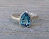 READY TO SHIP Size 7, Solitary Pear Ring in London Blue Topaz