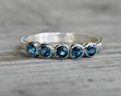 London Blue Topaz Five Stone RIng in Argentium  Silver, Recycled Sterling
