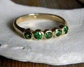 Tsavorite Green Garnet and 14k Yellow  Gold Five Stone Ring, Anniversary Band, Wedding Band or Stacking Ring