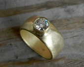 Modern Yellow Gold Engagement Ring // Large Moissanite set in 14k Yellow Gold Wide Band //  Eco Friendly, Conflict Free