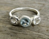 Aquamarine, White Topaz Gemstone and Sterling Silver 3 Stone Ring, Made To Order