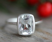 White Topaz and Matte Sterling Silver Cushion Solitaire Engagement Ring, Made To Order by Onegarnetgirl