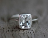 Cushion White Topaz Ring, Diamond Alternative Ring for Her, Eco Silver Engagement Ring, Matte Sterling Bezel, Clear Gemstone Ring, Emerald