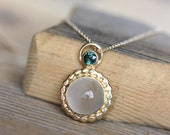 Green Sapphire, White Moonstone and 14k gold Necklace, Recycled Gold and Fair Trade