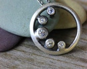 White Sapphire Cresent Moon Pendant Necklace, Recycled Sterling and Gemstone  Lunar Eclipse Silver Necklace