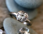 Cut in the USA // Cruelty Free Herkimer Diamond Gemstone Ring // 14k Palladium White Engagement Ring // Asscher Cut for the Unique Bride