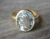 14k Rock Fetish Ring With Aquamarine,  Made in your Size