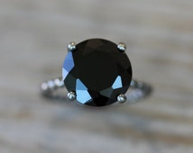 Black Spinel Ring, Sterling Silver Cocktail Ring, Black Stone Statement Ring, Sterling Silver Black Ring