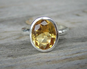 Citrine Oval Rock FETISH in Argentium Sterling, Made To Order