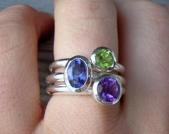 Iolite, Peridot and Amethyst in Silver  Stacking Rings, Chunky stacking rings Made To Order