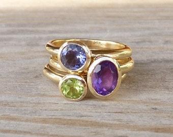 14k Gold Gemstone Stacking Ring Set, Recycled Gold Rings in Iolite, Peridot, Amethyst Ring, Statement Ring