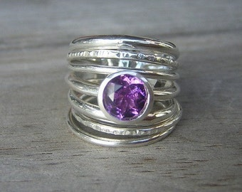 Amethyst and Sterling Stacking Set of Seven Rings, Made To Order