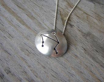 Diamond and Sterling Libra Constellation Necklace, Conflict Free Diamond and Sterling
