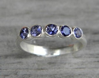 Iolite Gemstone Ring  Anniversary Band, Sterling Silver Ring  in Recycled Eco Friendly, Water Sapphire  Ring