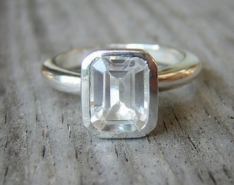 Emerald Cut White Topaz Gemstone Ring, Stackable or Solitaire Ring in Argentium Silver, Handcrafted Topaz Jewelry