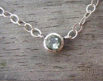 Green Amethyst Tinsel Necklace in Sterling Silver