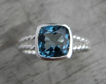 London Blue Topaz Ring, Split Shank Ring in Sterling Silver and Cushion Gemstone