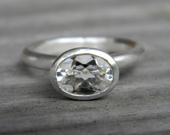 Oval Stackable Ring in White Topaz Gemstone, White Topaz Solitaire or Personalize Nesting Ring,  Organic Gem Ring