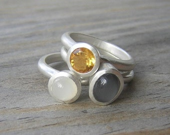 Moonstone Stacking Ring Set, Gray Moonstone and White Moonstone Rings with Golden Citrine  Nesting Rings