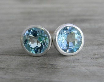Large Sky Blue Topaz Stud Earrings in Argentium Silver, Gemstone Post Earrings, Blue Gem Earrings, Bling Studs