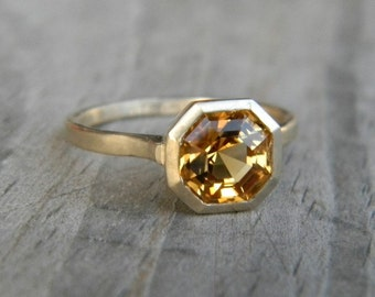 Citrine Gemstone Bezel Ring in Asscher Cut 14k yellow Gold