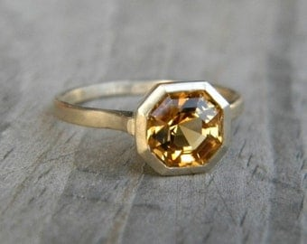 Asscher Cut Citrine set in 14k yellow Gold, Asscher Gemstone Ring, Solitaire Design Made To Order