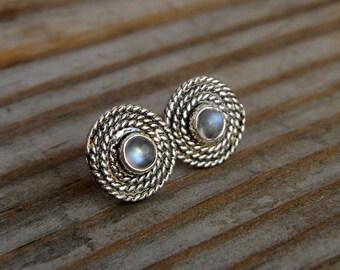 Rainbow Moonstone Earrings, Post Earrings in Tarnish Resistant Sterling Silver, Nautical Stud And Gemstone Earrings