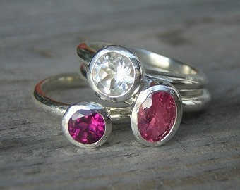 Oval Pink Tourmaline, Rhodolite Garner and White Topaz Stacking Set in Sterling Silver,  Stacking Ring Set, Pink Rings