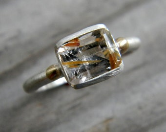 Rutilated Quartz Ring, 14k Gold Ring with  Argentium Sterling Silver, Emerald Cut Gemstone Ring