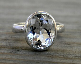 White Topaz Ring, Oval Ring in Sterling Silver, Recycled Silver, Eco Friendly, Gemstone RIng, Birthstone