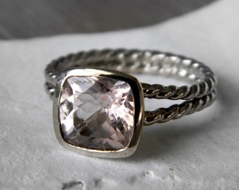 14k Rose Gold and Morganite Rapunzel Ring, Custom Engagement Ring Made to Order, Recycled Gold