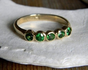 Tsavorite Green Garnet and 14k Yellow  Gold Five Stone Ring, Anniversary Band, Wedding Band or Stacking Ring