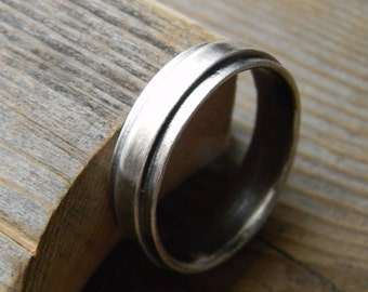 Sterling Silver Wide Band Ring, Low Profile Black Silver Comfort Fit Band Ring, Right Hand or Wedding Ring