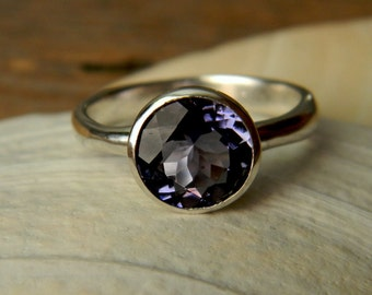 Iolite Silver Gemstone Ring, Water Sapphire in Recycled 925 Tarnish resistant Sterling Silver