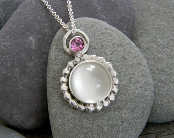 White Moonstone  Necklace and Rhodolite Garnet Necklace, Sterling Silver Pendant Necklace