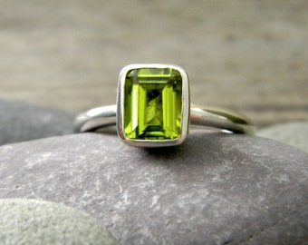 Emerald Cut Peridot Ring, Solitaire or Stacker Rings, Sterling Silver Gemstone Jewelry, August Birthstone Ring