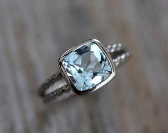 Sky Blue Topaz Ring, Palladium 14k White Gold Ring, Rapunzel  Rope Band