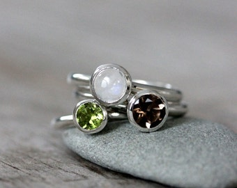 Smoky Quartz Peridot and Rainbow Moonstone in Sterling Silver Stacking RIngs, Forest Floor
