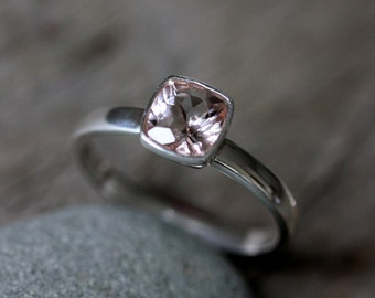 Cushion Pale Pink Gemstone Ring Cushion Shaped Morganite Ring in Sterling Silver, Delicate Ring