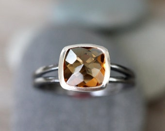 Rose Cut Citrine Gemstone Ring With Black Polished Sterling Silver, Made To Order