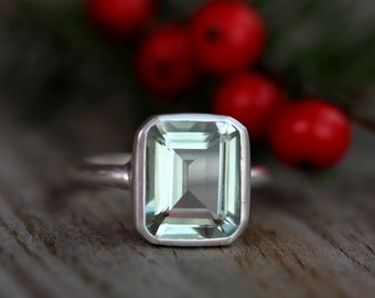 Green Amethyst Emerald Cut Gemstone Ring in Argentium Sterling Silver, Recycled Silver Ring Made to Order