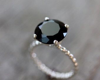 Black Spinel Ring, Black Stone Ring, Sterling Silver Gemstone Ring , Cocktail Ring, Gift for her