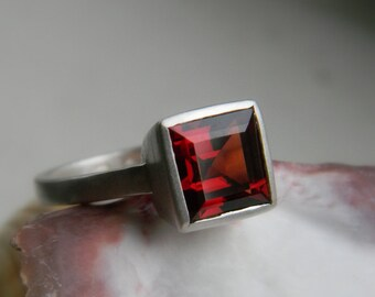 Garnet  Ring, Princess Cut Ring,  in Solitaire Setting, Recycled Sterling gemstone Ring