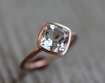 White Topaz And 14k Recycled Rose Gold Solitaire Ring, Made To Order