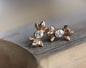 Moissanite and 14k Rose Gold Post Earrings, Recycled and Conflict Free Jewelry