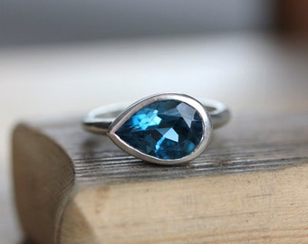 Large London Blue Topaz Sideswept Ring,Made of Recycled Sterling Silver and Made To Order