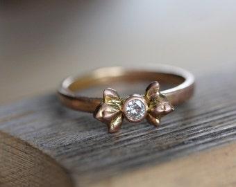 Moissanite and 14k Rose Gold Ring,  Flower Bud Ring, Gold Ring, Flower Engagement Ring, Made To Order