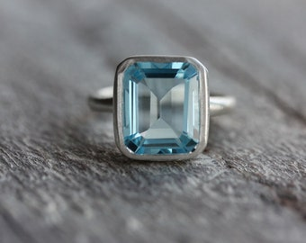 Sky Blue Topaz Emerald Cut Ring in Recycled Silver, Octagonal Emerald Shape Gemstone Solitaire, Right Hand Ring with Large Blue Stone